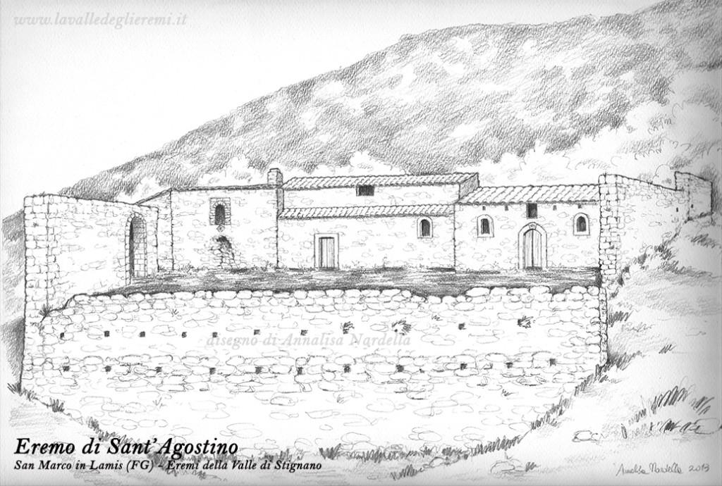 L'eremo di Sant'Agostino prima dei recenti crolli in un disegno di Annalisa Nardella